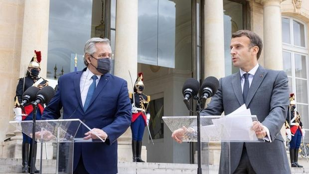 Fernández logró un fuerte apoyo de Francia para la Argentina, 'Francia está de su lado' fue el mensaje de Macron
