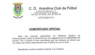 Detenidos tres jugadores de la Arandina por su presunta implicación en un delito sexual