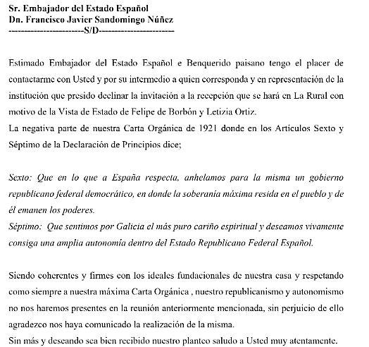 Federación gallega no acudirá a la recepción al Rey
