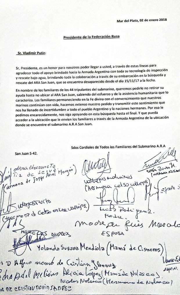 Familiares de los tripulantes del ARA San Juan con un pedido a Putin