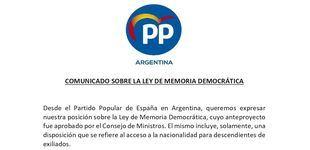 """El PP en Argentina pidió que la Ley de Memoria Democrática """"no sea un parche más"""""""