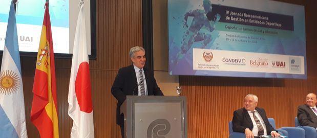 El Embajador Sandomingo inauguró la Jornada Iberoamericana de Gestión en Entidades Deportivas